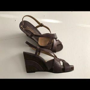 👡MICHAEL KORS brown leather wedge sandal NWT